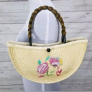 CHATEAU Straw Bag Purse Tote with Beaded Handles